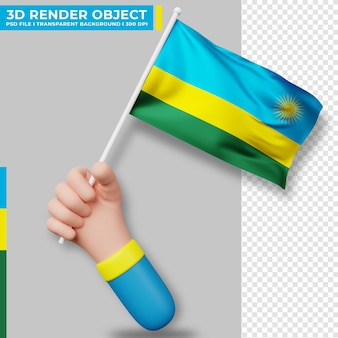 Illustrazione sveglia della bandiera del ruanda della tenuta della mano. giorno dell'indipendenza del ruanda. bandiera del paese.