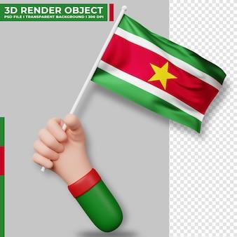 Illustrazione sveglia della bandiera del suriname della tenuta della mano. giorno dell'indipendenza del suriname. bandiera del paese.