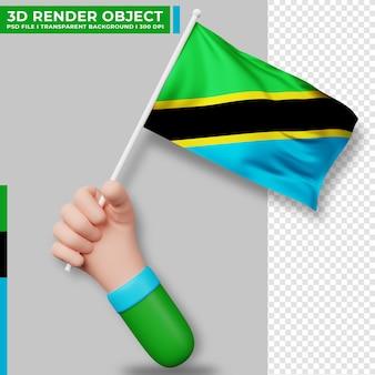 Illustrazione sveglia della bandiera della tanzania della tenuta della mano. giorno dell'indipendenza della tanzania. bandiera del paese.