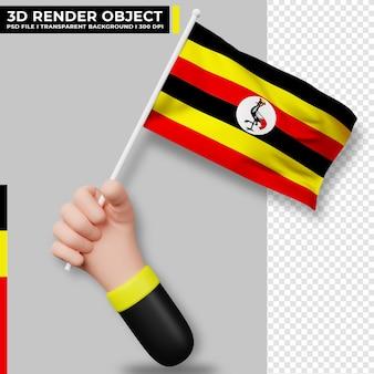 Illustrazione sveglia della bandiera dell'uganda della holding della mano. giorno dell'indipendenza dell'uganda bandiera del paese.