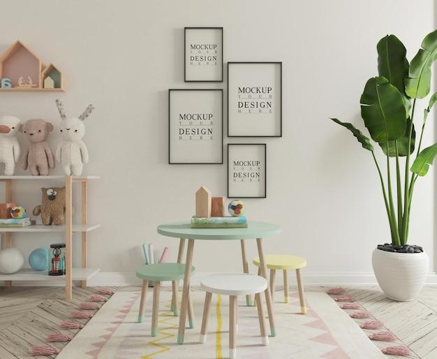 Simpatica sala giochi per bambini con poster mockup