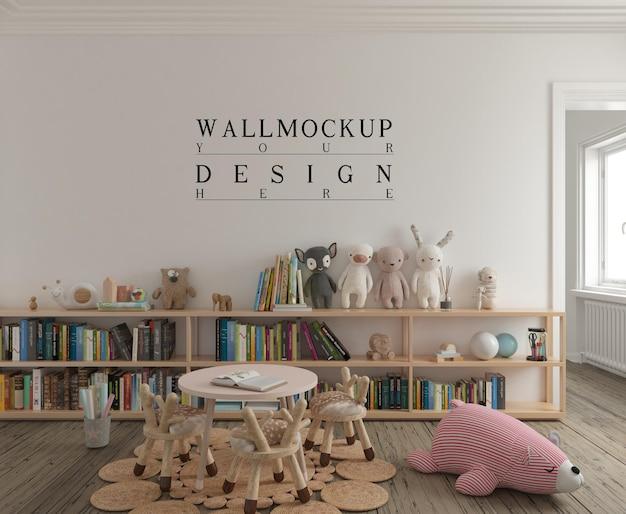 Simpatica sala giochi per bambini con parete mockup