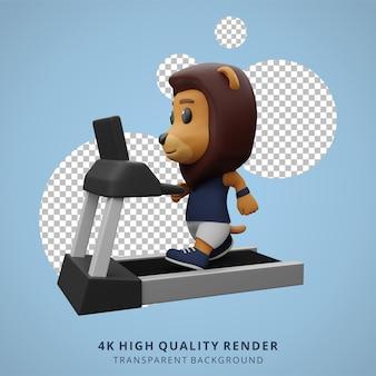 Leone carino che fa fitness e sollevamento pesi illustrazione di carattere animale 3d