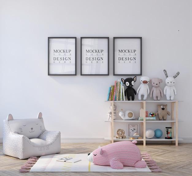 Simpatica cameretta per bambini con mockup incorniciato da poster