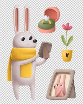 Piccolo coniglio sveglio nell'insieme disegnato a mano dell'illustrazione di amore