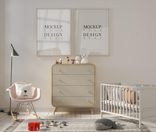 Stanza della scuola materna carina con cornice per poster mockup