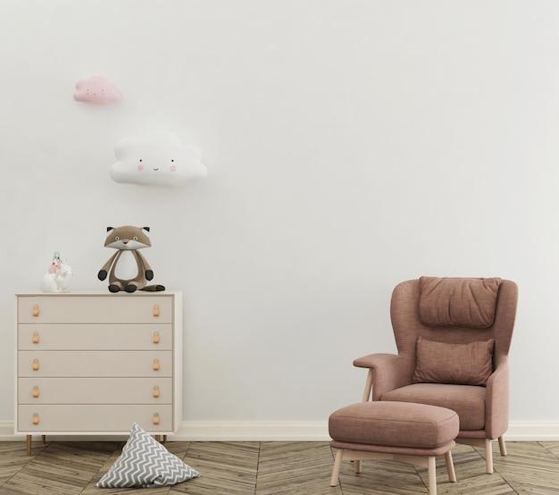 Simpatica stanza dei bambini pastello con parete mockup