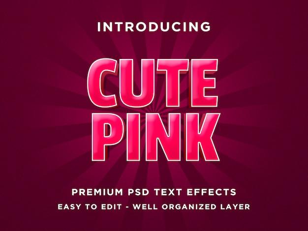 Cute pink - modelli psd con effetto font in stile testo 3d