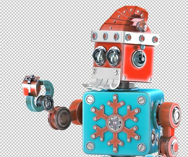 Simpatico robot retrò con cappello di babbo natale che tiene in mano una confezione regalo. isolato