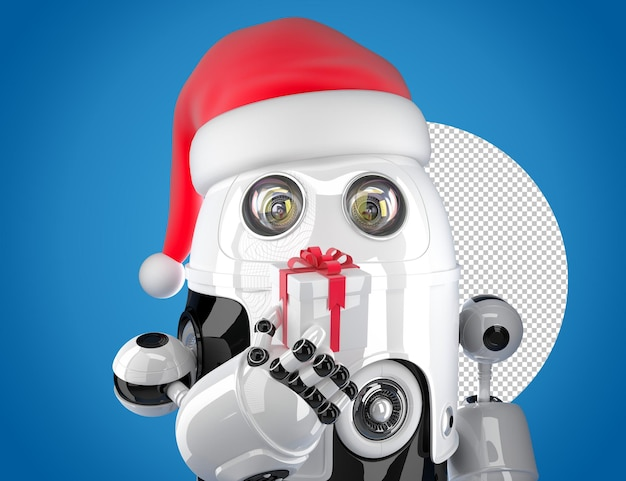 Simpatico robot con cappello di babbo natale che tiene in mano una confezione regalo. concetto di tecnologia