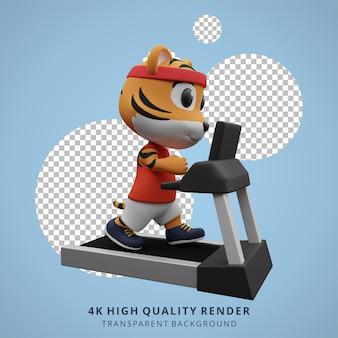 Illustrazione della mascotte del personaggio 3d dell'animale della palestra di forma fisica della tigre sveglia