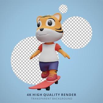 Cute tiger skateboarder animale 3d personaggio mascotte illustrazione