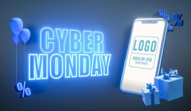 Banner di cyber lunedì con lettere al neon e un mockup di smartphone a schermo vuoto. design moderno del modello per la pubblicità.