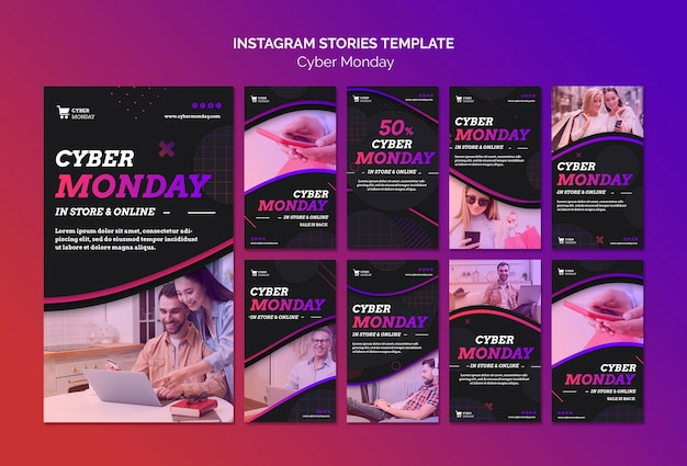 Modello di storie di instagram di concetto di cyber lunedì