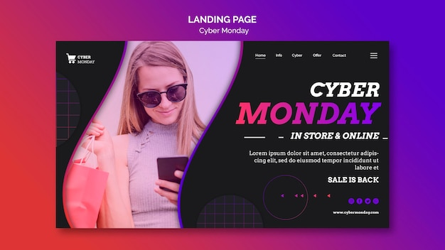 Modello di pagina di destinazione del concetto di cyber lunedì