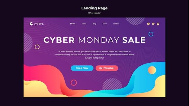 Modello di pagina di destinazione del cyber lunedì