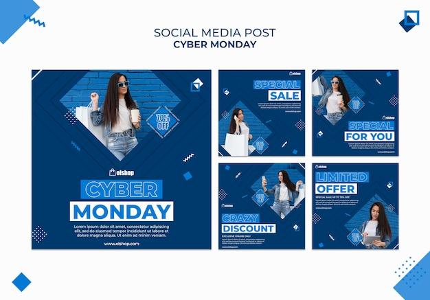Modello di post sui social media di cyber lunedì