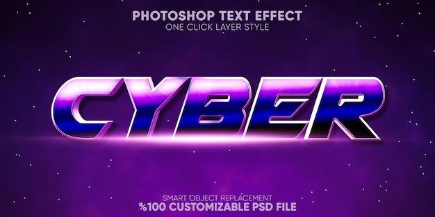 Gioco di effetti di testo cibernetico e modello di stile di testo del display Psd Premium