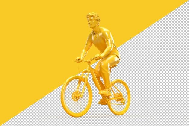 Ciclista in sella a una bicicletta in rendering 3d
