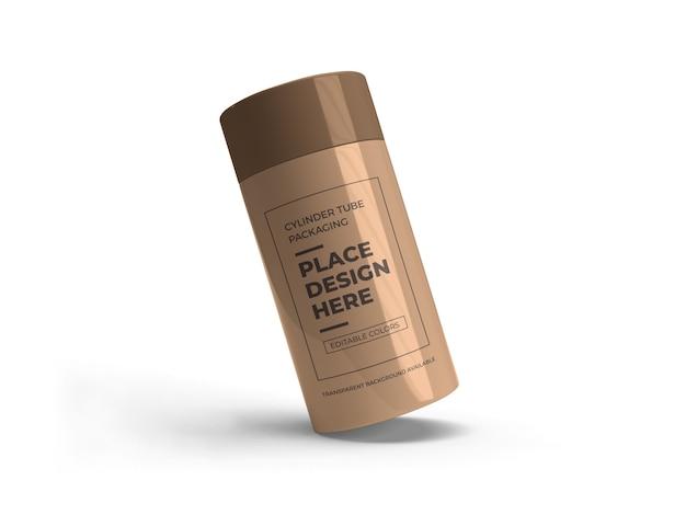Cilindro tubo packaging design mockup isolato