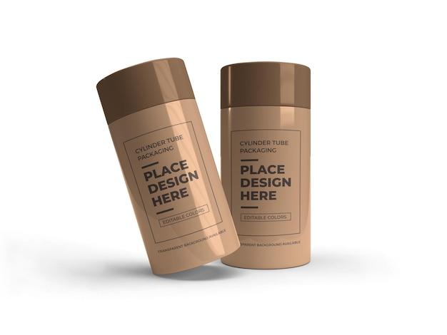 Progettazione di mockup di imballaggio per tubi cilindrici