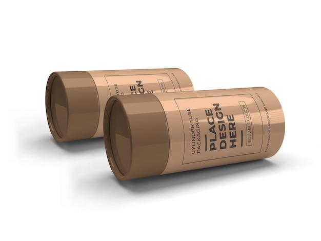 Mockup di imballaggio del tubo del cilindro