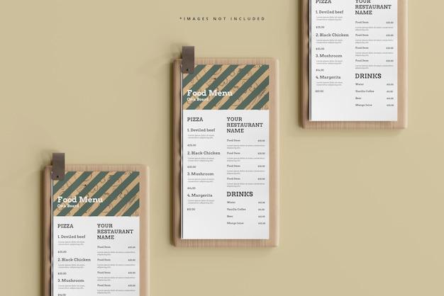 D menu di cibo su una tavola di legno mockup