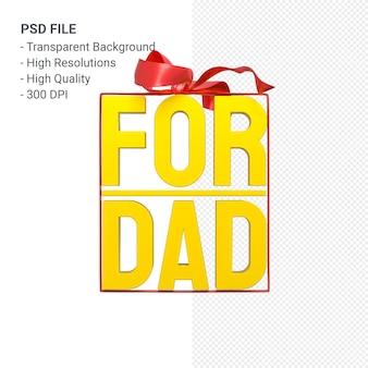 Per papà con fiocco e nastro rendering 3d isolato