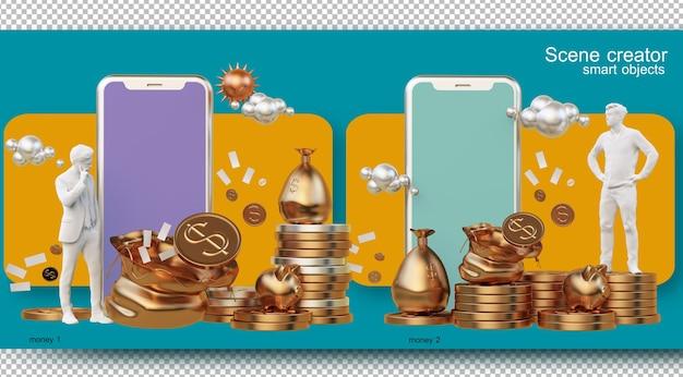 Illustrazioni di gestione finanziaria della vita quotidiana