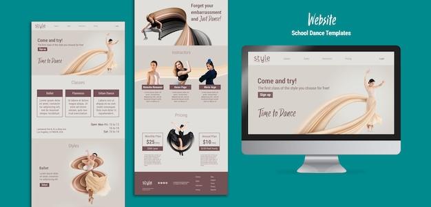 Modello di sito web concetto di danza
