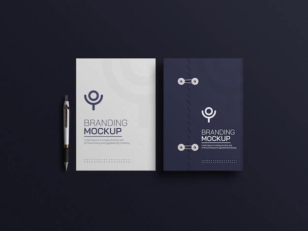 Documento blu scuro con mockup di carta intestata