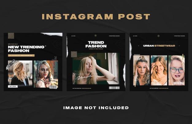 Modello di banner post instagram mobili blu scuro