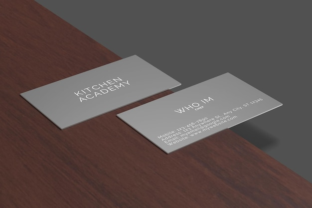 Rendering di design mockup biglietto da visita scuro
