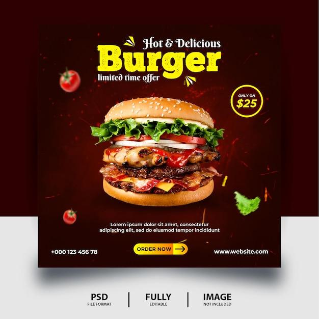 Banner di post sui social media promozionale per hamburger di colore scuro