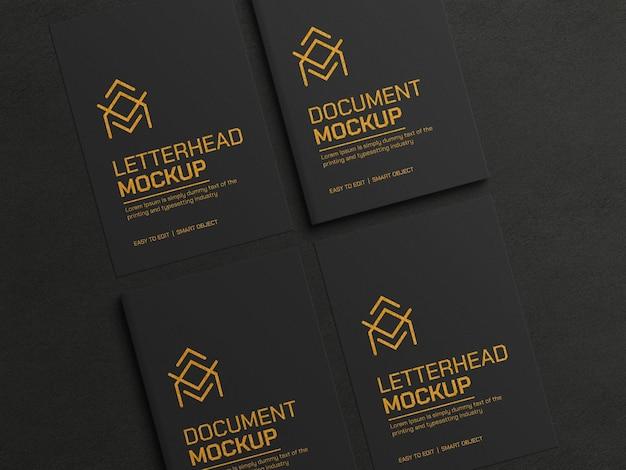 Documento scuro con mockup di carta intestata