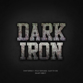 Effetto font 3d ferro scuro