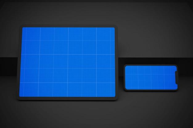 Mockup di dark mobile & tablet pro