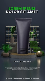 Podio astratto elegante scuro natura con pianta tropicale