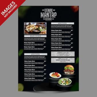 Modello di menu di cibo semplice scuro per ristorante o bar