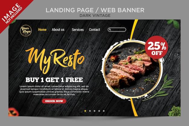 Pagina di destinazione vintage scuro o modello di banner web