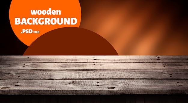 Legno scuro, tavolo per prodotto, interni in legno prospettiva antica