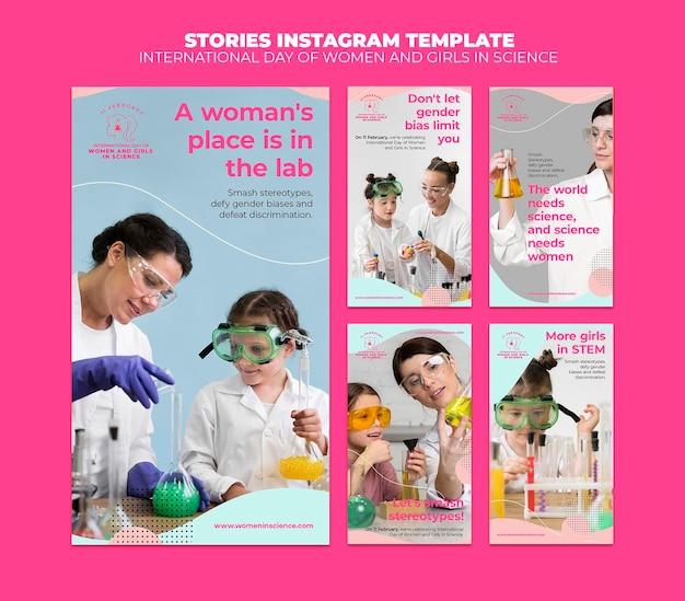 Giornata delle donne e delle ragazze nelle storie di instagram di scienza