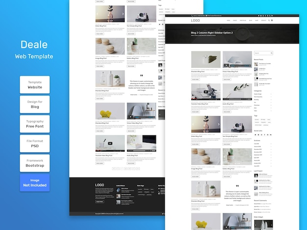 Deale blog news web template