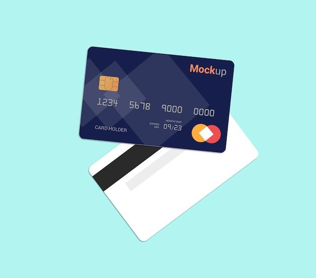Carta di debito, carta di credito, modello di smart card mockup