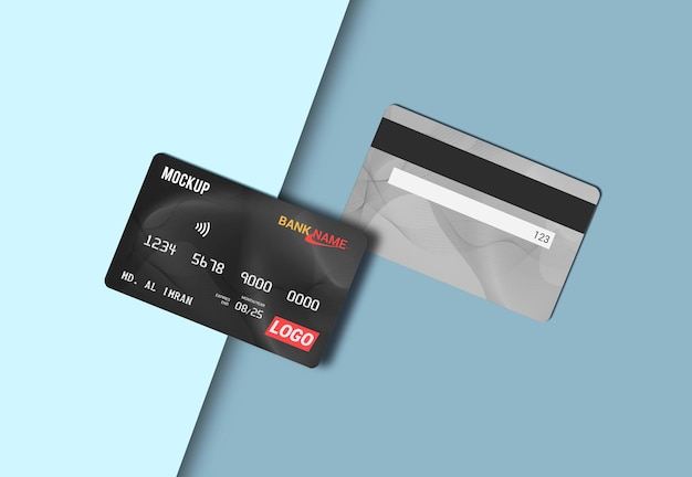 Mockup di carta di debito nel rendering 3d isolato
