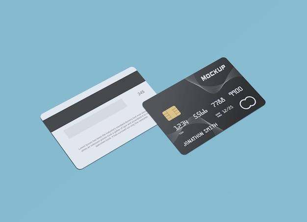 Design di mockup di carte di plastica con carta di debito