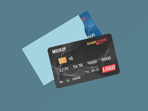 Carta di debito smart card carta di plastica in carta protettiva mockup