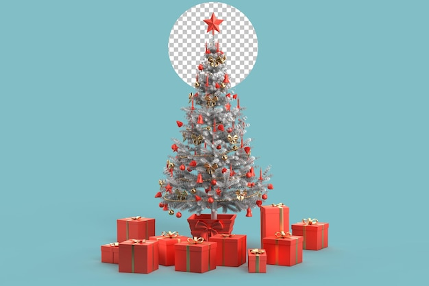 Albero di natale decorato e tanti regali diversi. rendering 3d