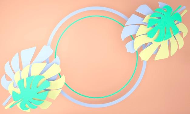Cornice rotonda decorativa con foglie di monstera