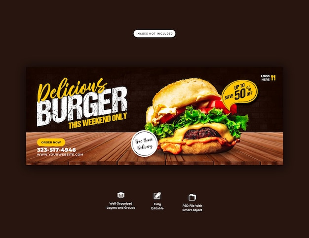 Modello di copertina del menu delizioso hamburger e cibo